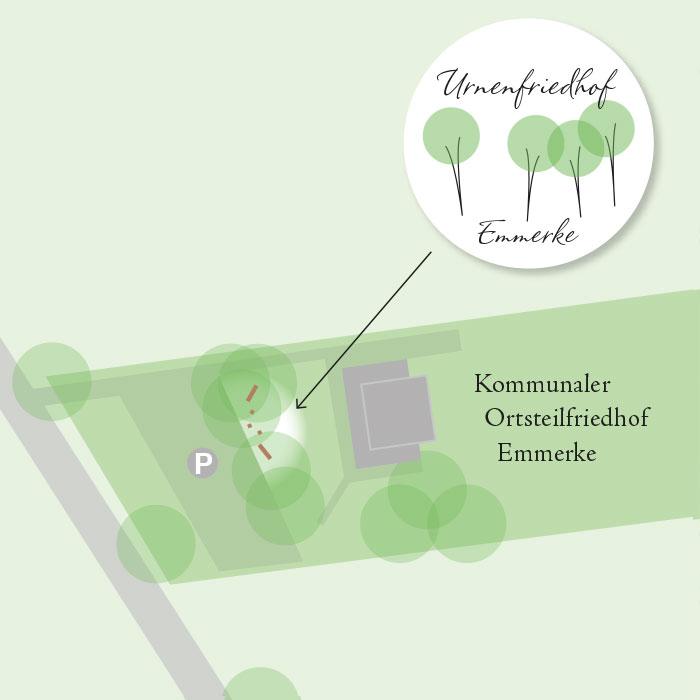 Urnenfriedhof Emmerke Lageplan, nahe Hildesheim